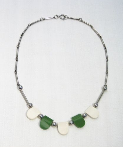 Green - White Galalith and Chrome Necklace, 1930s, JAKOB BENGEL