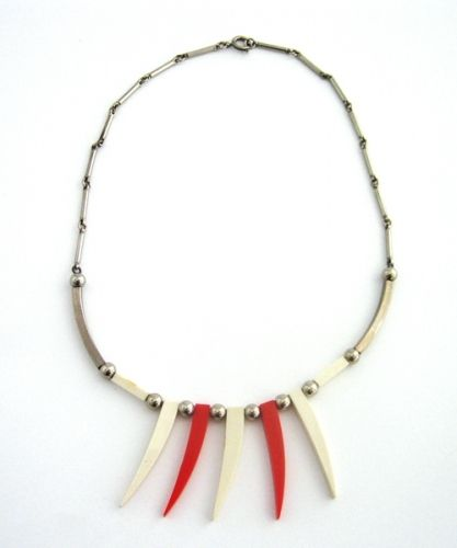 Red and White Galalith and Chrome Necklace, 1930s,JAKOB BENGEL