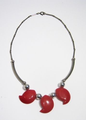 Red Galalith and Chrome Necklace, 1930s, JAKOB BENGEL