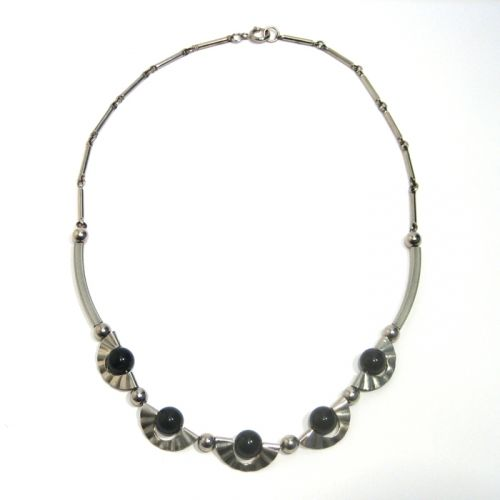 Black Glass and Chrome Necklace, 1930s, JAKOB BENGEL