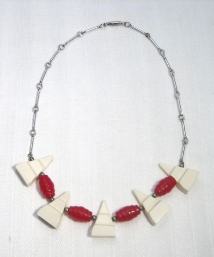 White and Red Galalith and Chrome Necklace, 1930s,JAKOB BENGEL