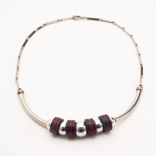 Blue and Red Galalith and Chrome Necklace, 1930s, JAKOB BENGEL