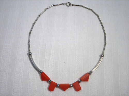 Orange Coloured Galalith and Chrome Necklace,1930s, JAKOB BENGEL