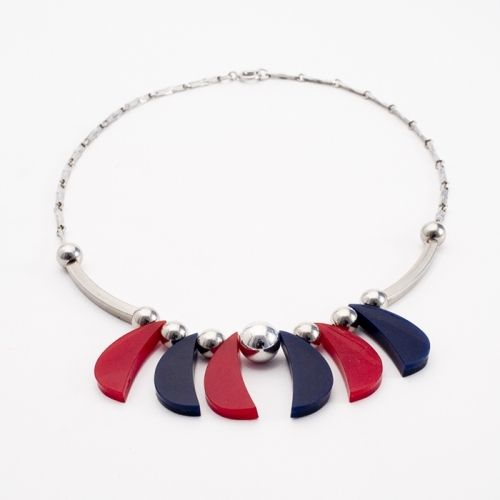 Red and Blue Galalith Necklace, 1930s, JAKOB BENGEL