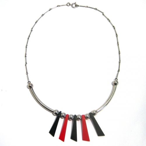 Black-Red Galalith and Chrome Necklace, 1930s, JAKOB BENGEL