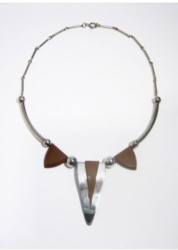 Brown Galalith and Chrome Necklace, 1930s, JAKOB BENGEL