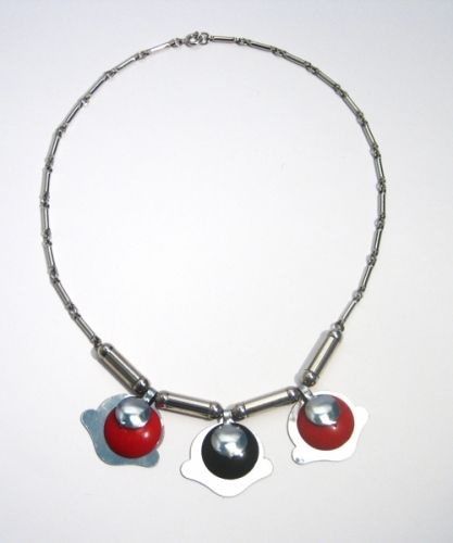 Red and Black Galalith and Chrome Necklace, 1930s,JAKOB BENGEL