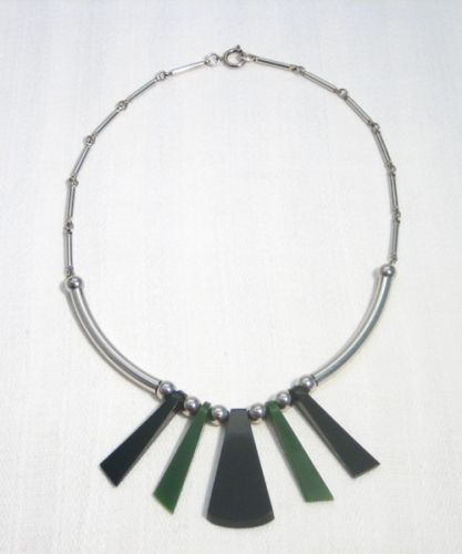 Green - Black Galalith and Chrome Necklace, 1930s, JAKOB BENGEL