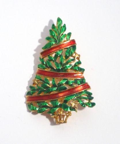 Green Laquered Christmas Tree Pin, 1960s, USA
